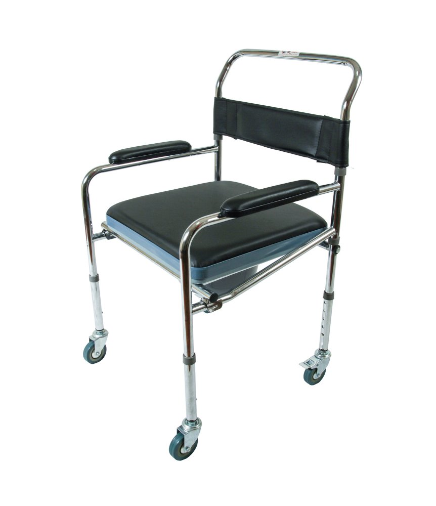 Commode Chair With Wheels Black Nsl 7005w Noorani